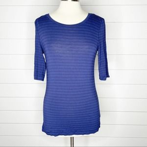 Free People Striped Leader Of The Pack Tee Navy L